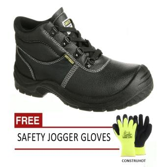 Safety Jogger SAFETYBOY S1P High Cut Men Safety Shoes FootwearSteel Toe (Black) with Free Safety Jogger Gloves (Construhot)