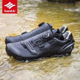 Santic MTB Cycling Rotating Button Shoes For Eggbeater Shimano SPDSystem Bike Man Shoes Black - intl
