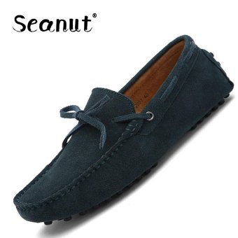 Seanut Fashion Leather Slip On Men Loafers Casual Shoes (Deep green) - intl