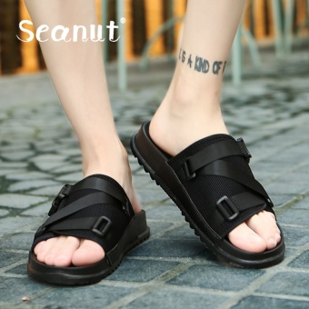 Seanut Summer Men Flat Sandals Fashion Mesh Slippers (Black) - intl