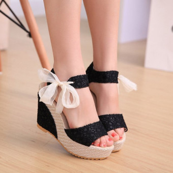Sexy Lace Shoes Peep Toe Wedge Womens Platform High Heel Pump Sandals Bowknot Black -Intl