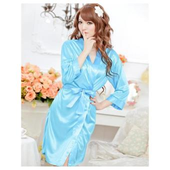 Sexy Nightgowns Satin Silk Nighties Women Sexy Lingerie Lace Sleepwear Sexy Babydoll Sleepwear(Blue) - intl