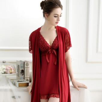 Sexy Nightie Women Bathrobes Robe Set High Quality Lace NightgownBathrobes+Nightdress(Wine Red) - intl