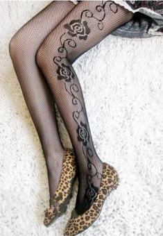 Sexy silk Cooljie anti-Pantyhose fishnet stockings (Rose)