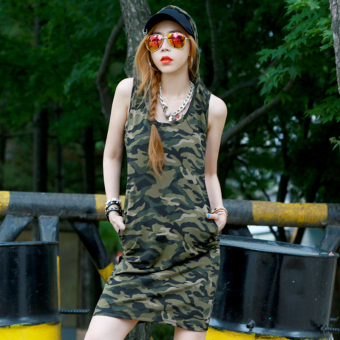 Sexy summer Slim fit hooded casual vest long dress camouflage dress (Sleeveless camouflage)