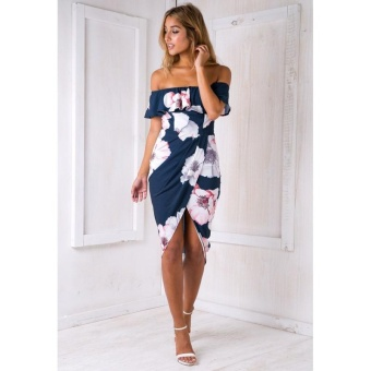 Sexy Women Boho Off Shoulder Dress Ruffles Floral Print AsymmetricRuched Split Summer Beach Holiday Dress Blue - intl