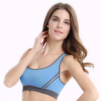 Sexy Women Padded Sports Yoga Bra Top Vest Gym Fitness skyblue -Intl
