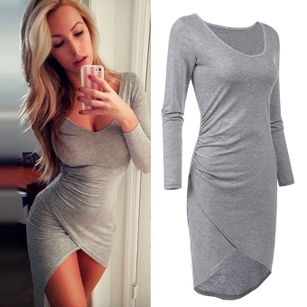 Sexy Women Ruched Bodycon V Neck Long Sleeve Evening Party Cocktail Mini Dress