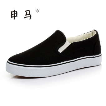 Shen Ma versatile flat student foot covering canvas shoes (Black)