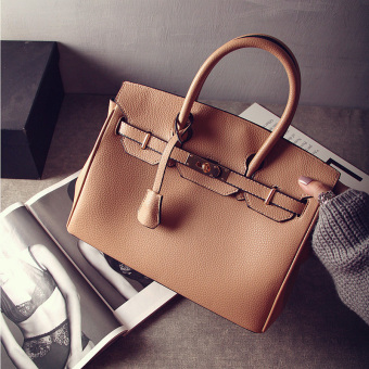 SHININGSTAR European and American embossed leather portable shoulder big bag New style women's bag (Khaki)