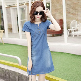 Short sleeved summer female New style dress cowboy dress (Blue) (Blue)