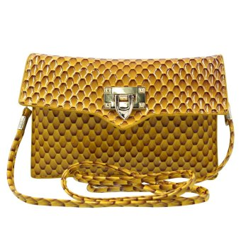 Sling Bag Ladies Decorative Leather Clip Lock (Yellow Brown)