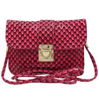 Sling Bag Ladies Decorative Leather Push Button Lock (Fuchsia Pink)