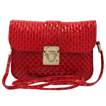 Sling Bag Ladies Decorative Leather Push Button Lock (Red)