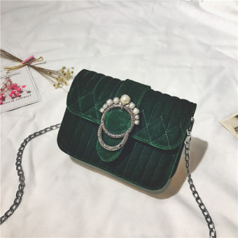 Small Square Korean-style velvet female New style versatile messenger bag small bag (Green)