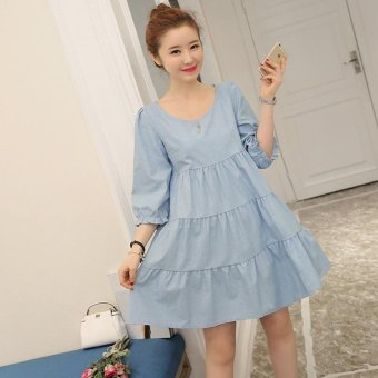 Small Wow Maternity Casual Round Solid Color Cotton Above Knee Dress Light Blue - intl