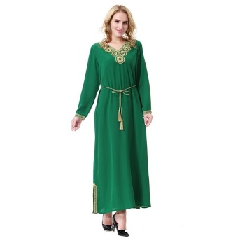 Small Wow Muslim Long Sleeve Casual Stitching Contrast Color Linen Long Dress Green - intl