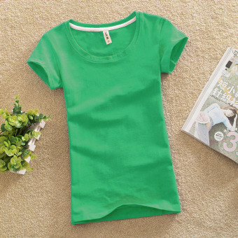 Solid color female Slim fit bottoming shirt New style Top (Fruit green)