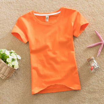 Solid color female Slim fit bottoming shirt New style Top (Orange)