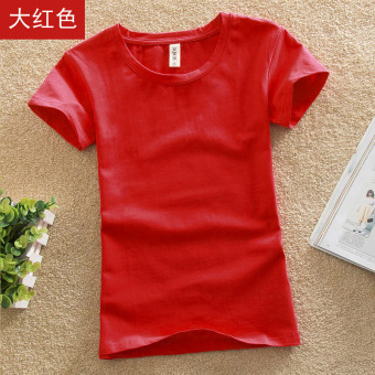 Solid color female Slim fit bottoming shirt New style Top (Red color)