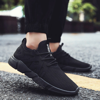 Sports Korean-style canvas running men's trendy shoes men shoes (All black)