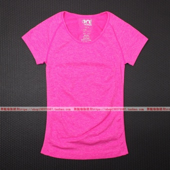 Sports stretch running training fitness clothes short sleeved sports Top short sleeved Slim fit T-shirt (Rose color) (Rose color)