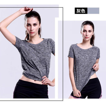 Sports versatile solid color fitness breathable Top T-shirt (Gray)