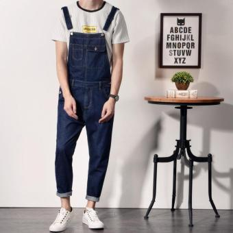 Spring and Autumn new one-piece cowboy suspenders pants