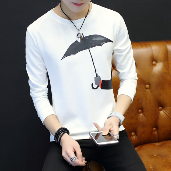 Spring and Autumn New style men's printed T-shirt (White)