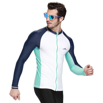 Spring Autumn Men's Rash Guard Top Shirts Swim Long-Sleeve WetsuitSnorkeling Diving & White - Intl