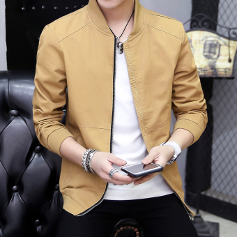 Spring New style casual jacket thin jacket (Yellowish brown)