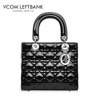 Star Korean-style female New style celebrity inspired chain bag (Patent leather black/five grid models)