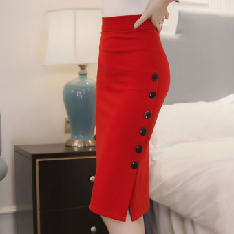 Step mid-length high-waisted single breasted Slim fit sheath Skirt (Red)