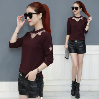 Stitching mesh female autumn long-sleeved Top heattech (Rust red)