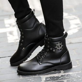 Stylish hight-top warm cotton-padded shoes Martin boots (LX027 black)