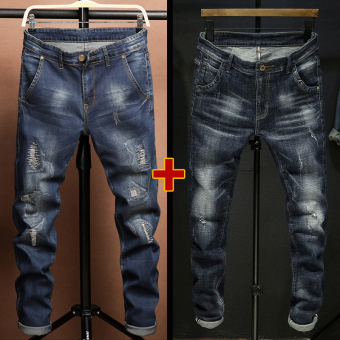 The trend of man slim-fit small foot length pants spring jeans 522 dark blue + 821 dark blue