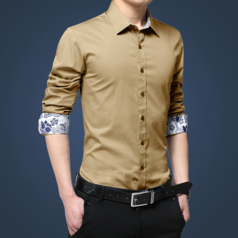 Stylish solid men's Slim fit-white shirt long-sleeved shirt (Gold)