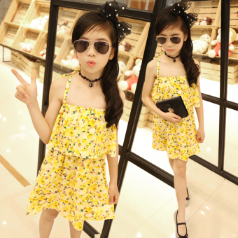 Suihua yellow summer Korean-style skirt girls dress