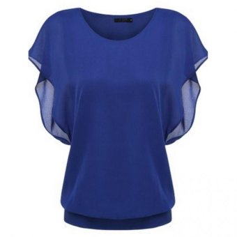 Summer Loose Casual Batwing Sleeve Chiffon Top (Blue)