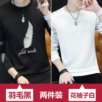Summer men's sleeve T-shirt (Feather black + flower sleeves white) (Feather black + flower sleeves white)