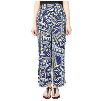 Summer Plus Size Print Chiffon Side Split Boho Wide Leg Pants Women Elastic High Waist Casual