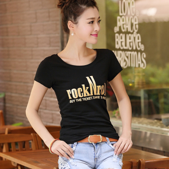 Summer Slim fit Short sleeve Top Korean-style short-sleeved t-shirt (Rock female short D-37 black)