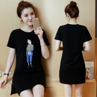 Summer women print casual short sleeve black mini dress - intl