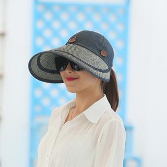 4867f409777fe SUN outdoor sunscreen women folding beach hat college style hat (Cowboy  blue) Women Accessories