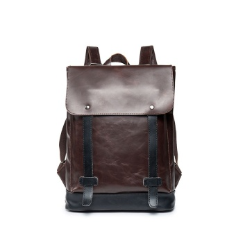 Sunking Korean New Laptop Bag Backpack Men Bag Fashion Leather Rucksack Bag Leisure Men School Back Pack (Coffee) - intl
