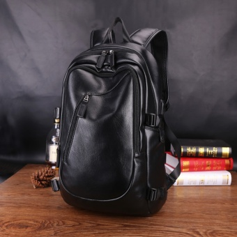 Sunking New Men Rucksack Bag Men Large Capacity Backpack Korean Back Pack Middle School Leisure Travel Laptop (Black) - intl