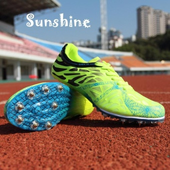 Sunshine Track Sports Running Shoes Spike Spikes Athletics Training Shoes Lelaki Berjalan Kasut - Green - intl
