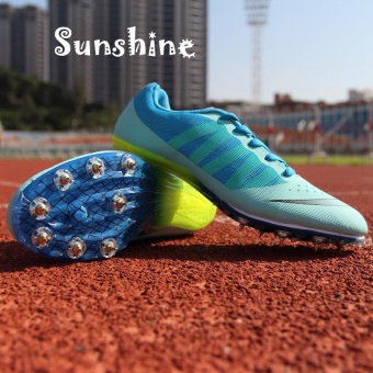 Sunshine Track Sports Running Shoes Spike Spikes Athletics TrainingShoes Lelaki Berjalan Kasut - Blue - intl