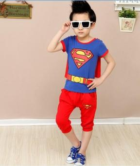Superman New style boy's cloak Spider Man children's clothing (Blue)