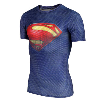Superman quick-drying breathable running basketball T-shirt fitness clothing (Classic blue Superman)